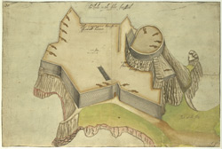 A coloured plan or bird's eye view of a fort, entitled